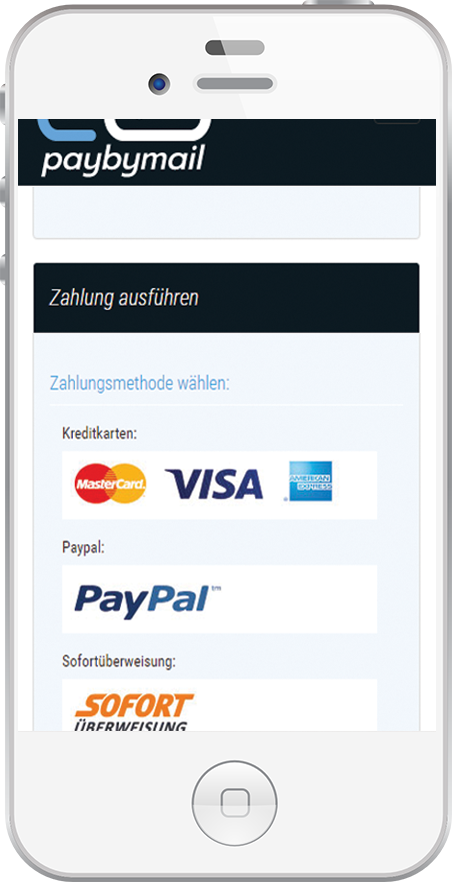 Mobile Paybymail Nutzung